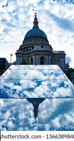 london St. Paul's Cathedral reflection in a mirrow and clouds