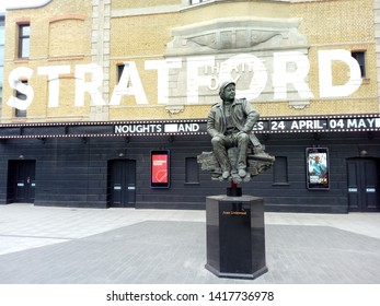 LONDON, STRATFORD/ UK- 5th June 2019: Statue of Joan Littlewood, outside Stratford theatre in London's east end.