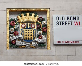 London street sign with City of Westminster coat of arms