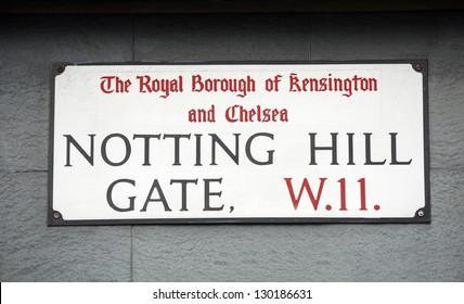 London Street Sign, NOTTING HILL GATE, Borough of Kensington and Chelsea