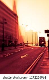 London street at sunset