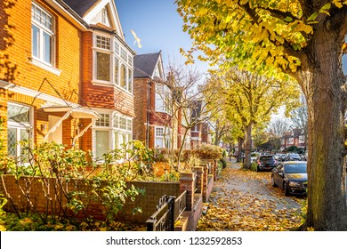 London suburb of Chiswick in the autumn time, UK