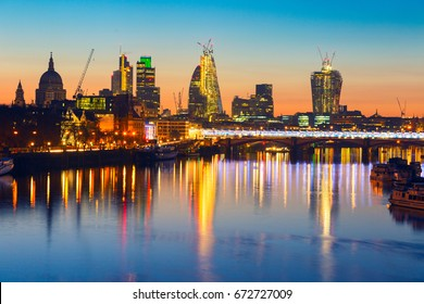 London sunrise. View on business modern district