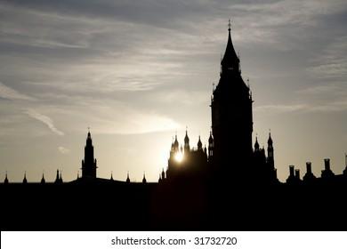 London - sunset over Big Ben - silhouette