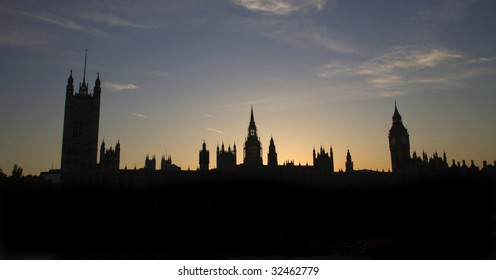 London - sunset over parliament