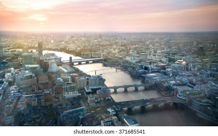 London at sunset, River Thames and bridges
