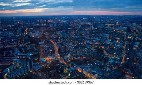 London Sunset Skyline. London View Looking West Toward Waterloo, Houses of Parliament.