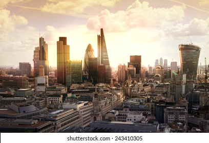 London sunset. View on business modern district - Shutterstock ID 243410305