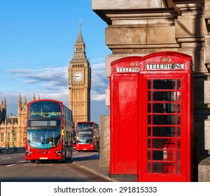 London symbols with BIG BEN, DOUBLE DECKER BUS and red PHONE BOOTHS in England, UK