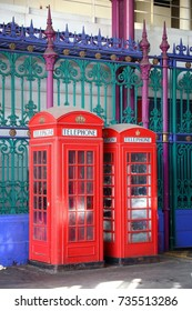 London telephone - red phone booths in England.