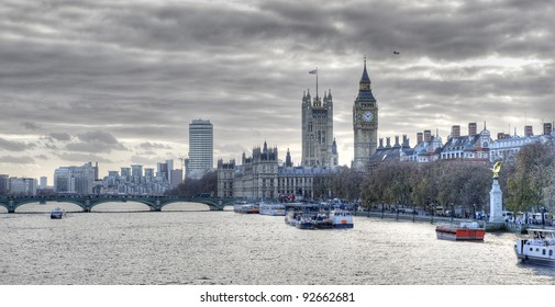 London, the Thames, and the Houses of Parliament. High dynamic range image.