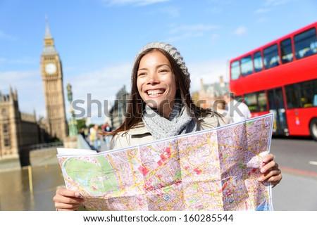 London Tourist Woman On Europe Travel Stockfoto (Jetzt bearbeiten ...