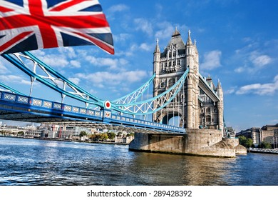 London Tower Bridge with flag of England