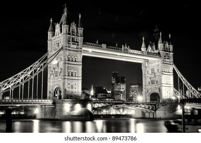 London Tower Bridge at night with reflection
