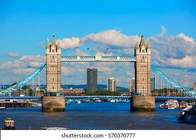 London Tower Bridge on Thames river in England UK