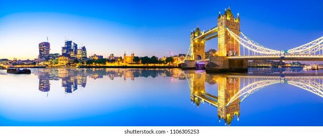 London Tower Bridge panorama at dusk | England