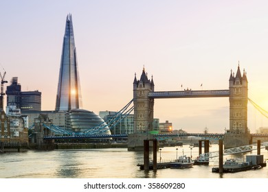 London, Tower Bridge and the Shard at Sunset