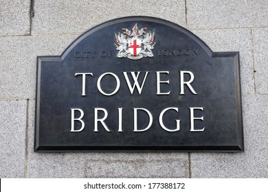 London Tower Bridge sign