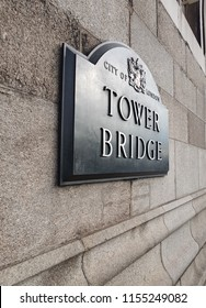 London Tower Bridge Sign. Angled view of the sign on a beautiful summer day.