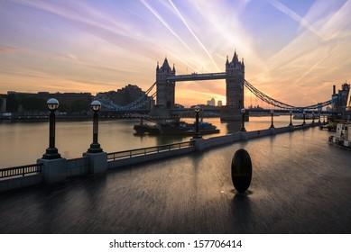 London, Tower Bridge at sunrise