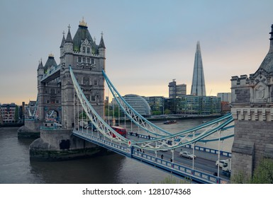 The London Tower bridge at sunrise on a sunny summer day - shot against blue clear sky into the shining sun
