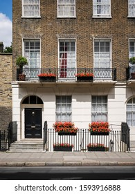London Townhouse. The façade to a traditional Georgian town house typical to the Bloomsbury district of central London.