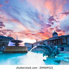 London, Trafalgar Square in the evening, toned image