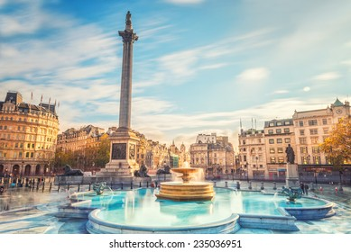 LONDON, TRAFALGAR SQUARE, NOV 18, 2014. Trafalgar Square is a public space and tourist attraction in central London. effect long exposure