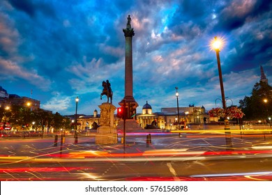 London Trafalgar Square sunset Nelson column in England