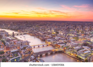 London at twilight view