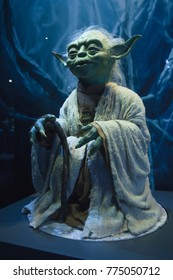 London, UK, 01/09/17: The orginal puppet used for Yoda in Empire Strikes Back (1980) is on public display at the O2 Exhibition Centre in London.