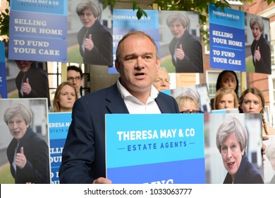 London, UK. 02 May, 2017. Liberal Democrat Election Spokesperson and former Cabinet Minister Sir Edward Davey leads a demonstration against Theresa May.
