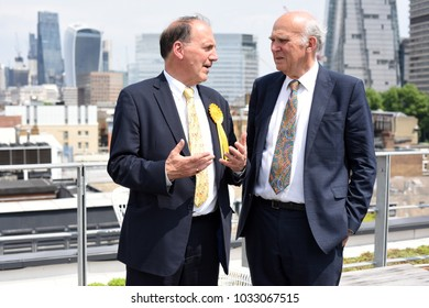 London, UK. 02 May, 2017. Sir Vince Cable, former Business Secretary and Liberal Democrat Shadow Chancellor, tours a coworking space in central London before making a speech warning Theresa May.