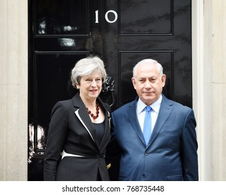 London, UK. 02 November, 2017. Prime Minister Theresa May welcomes the Prime Minister of Israel Benjamin Netanyahu to Downing Street.