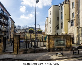 LONDON, UK - 02/18/2018:   The site of the original Globe Theatre behind  Anchor Terrace in  Southwark
