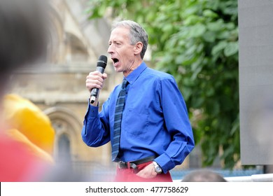London, UK.  03 September 2016.March For Europe. Human rights campaigner Peter Tatchell addresses the rally.