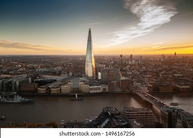 London, UK. 03-11-2018. View from Sky Garden Terraces at south London and Thames river with Shard skyscraper. Second tallest in Europe.