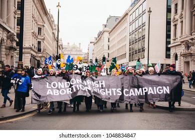 London / UK - 03/17/2017: Abortion rights at St Patrick's Day Parade