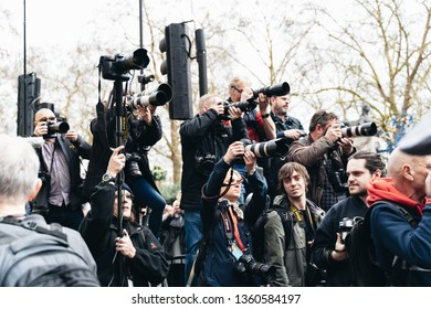London / UK - 03/23/2019: journalists at Brexit March