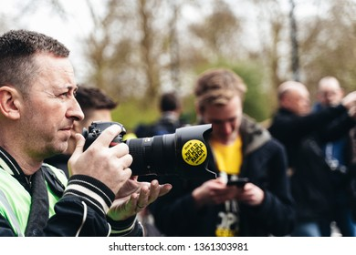 London / UK - 03/23/2019: photographer at Brexit March