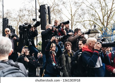 London / UK - 03/23/2019: photojournalists at Brexit March