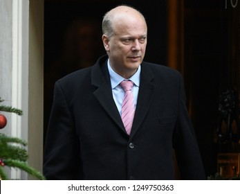 London, UK. 04 December, 2018. Chris Grayling MP, Secretary of State for Transport, leaves the weekly Cabinet Meeting, 10 Downing Street.