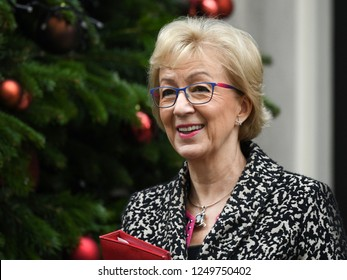 London, UK. 04 December, 2018. Andrea Leadsom MP, Leader of the House of Commons, Lord President of the Council, leaves the weekly Cabinet Meeting, 10 Downing Street.