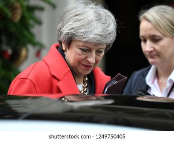 London, UK. 04 December, 2018. Prime Minister Theresa May leaves 10 Downing Street to give a statement in the Houses of Parliament.