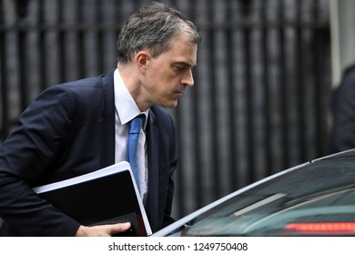 London, UK. 04 December, 2018. Julian Smith MP, Parliamentary Secretary to the Treasury (Chief Whip), leaves the weekly Cabinet Meeting, 10 Downing Street.