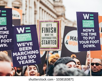 London / UK - 04.03.2018 : Women with posters at Womens march london 2018