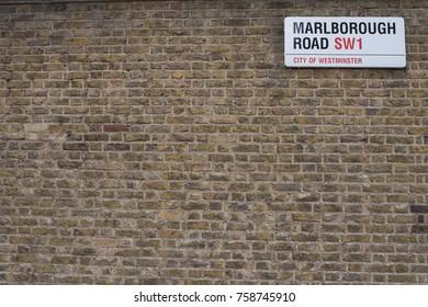London, UK - 04/30/2017 : MARLBOROUGH ROAD SW1 Label with wall