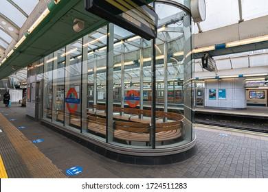 London / UK - 05/04/2020:  London's busiest area, popular tourist destination empty as people self isolate during COVID-19 coronavirus pandemic. Hammersmith Station