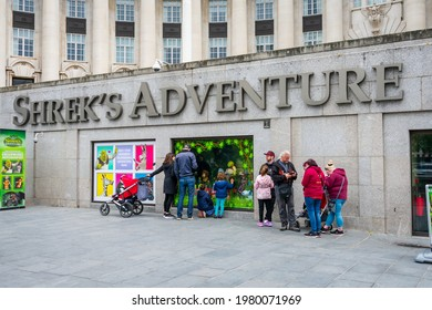 London. UK- 05.23.2021.  The popular attraction Shrek's Adventure in the Riverside Building reopens for visitors as the country emerge from Covid-19 lockdown.