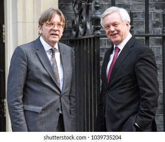 London, UK. 06 March, 2018. The Prime Minister and Secretary of State for Exiting the European Union David Davis meet Leader of the Alliance of Liberals and Democrats for Europe Guy Verhofstadt.
